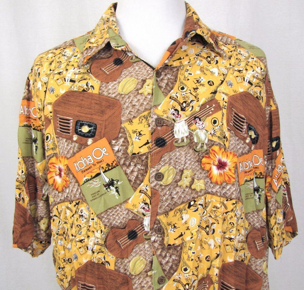 93eac315 Reyn Spooner Shirt XL Hawaiian Aloha Oe Ukulele Hula Cynthia Conrad Radio  Camp #ReynSpooner #Hawaiian