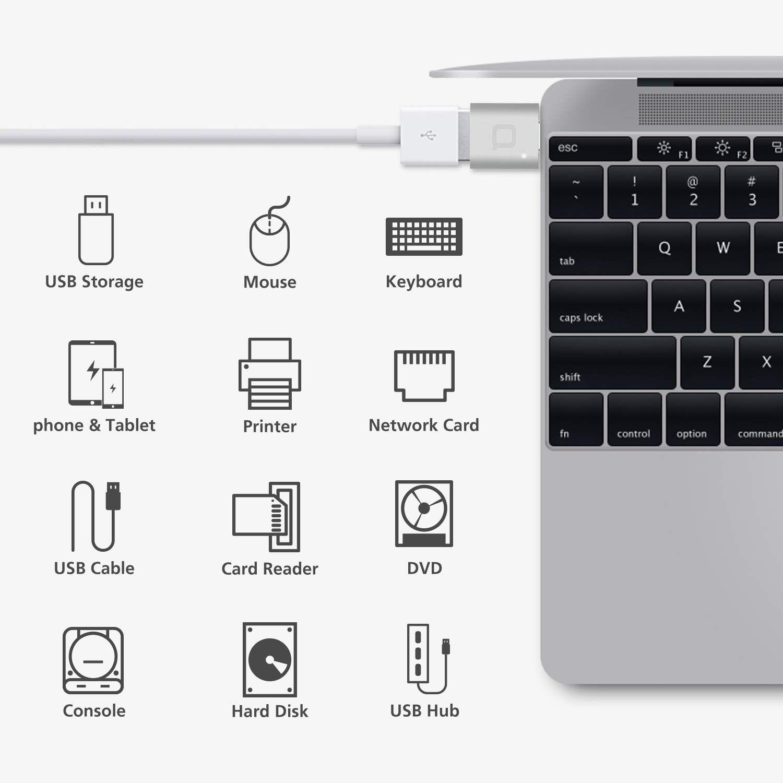 Nonda Usb Type C To Usb 3 0 Adapter Thunderbolt 3 To Usb Adapter Aluminum With Indicator Led For Macbook Pro 2018 2017 Macboo Macbook 12 Inch Otg Usb Storage