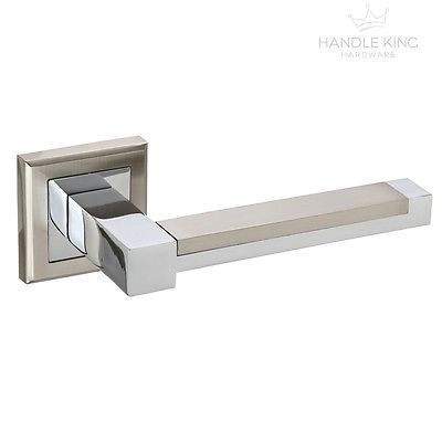 Beau Square Internal Chrome Door Handles Set On Rose   Duo Polished U0026 Satin  Chrome