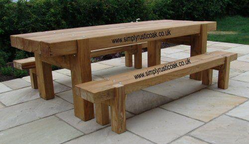 Bespoke Rustic Oak Garden Tables Custom Made Oak Beam Tables By Simply Rustic Oak Garden Table Contemporary Garden Furniture Oak Garden Furniture