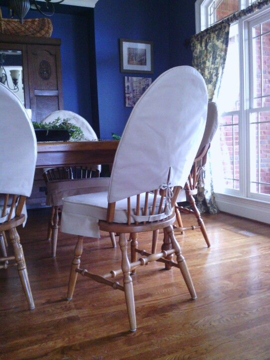 I Sewed Skirted Dining Chair Cushions And Slipcovers For My Windsor Chairs Gave My Dining Chair Slipcovers Dining Room Chair Slipcovers Slipcovers For Chairs