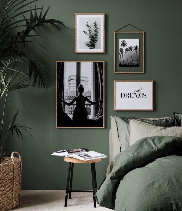 Photo of botanical interior design ideas dark green bedroom with white art