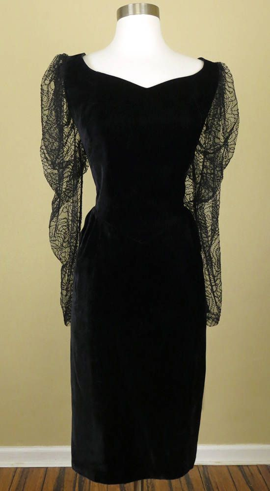 35243f1f7f1e5 Vintage 80s 90s Black Velvet Party Dress XL XXL 1X Plus Size   Sheer long  puff sleeves with flocked velvet dots   Black crushed velvet dress