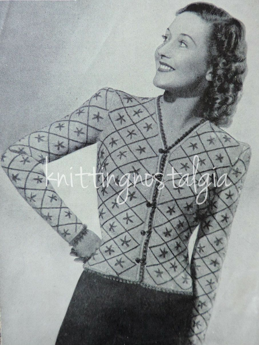 Vintage 1930s-1940s Knitting Pattern, PDF, Ladies Tyrolean Jumper ...