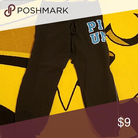Victoria's Secret PINK Capri Sweatpants Black with blue lettering, excellent condition PINK Pants