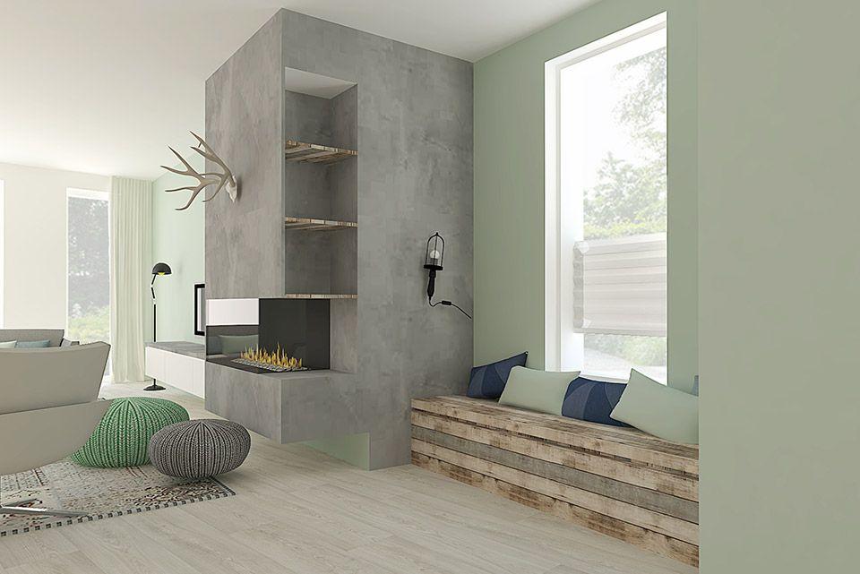 Scandinavisch interieur met beton, steigerhout en een grote haard ...