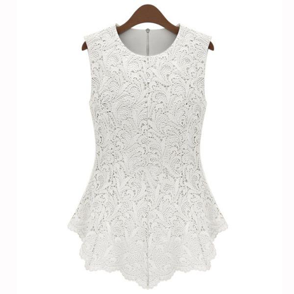 Nueva Manera del verano de la camisa párr mujer Fauna Crochet Peplum tanque  encaje de moda Blusa pecado mangas blanco y negro en las blusas y c . 0d8d8f36c0e