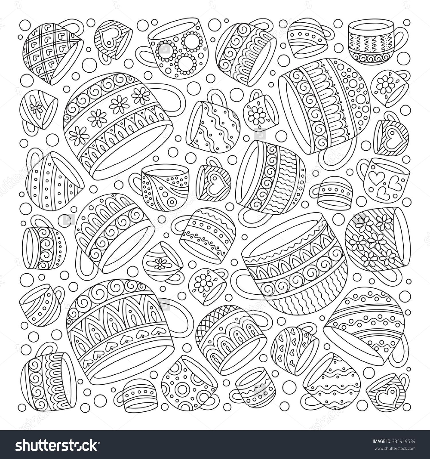 Coffee and tea cups coloring page
