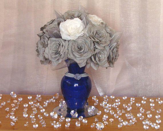 Royal blue and grey table centerpiece, Paper flower decor, floral arrangement, Event flower decor, home decor, Paper flower arrangement