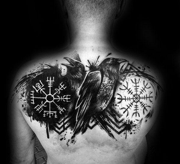 85dfa3bd33f5e Awesome Black Crow Paint Splatter Viking Compass Mens Back Tattoos