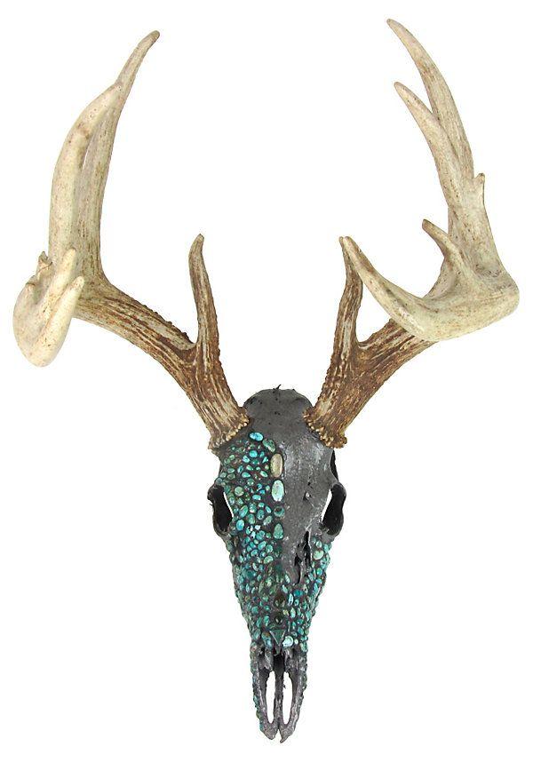 Deer Skull w/ Turquoise  Deer skull art, Painted deer skulls