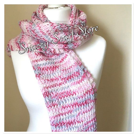 Photo of Pink Mix Hand Knitted Hood Scarf, Pink Hood Scarf, Knitted Scarf, Pink Knitted S…