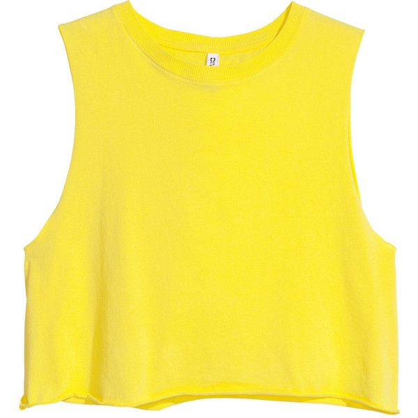H&M Short sleeveless top ($4.25) ❤ liked on Polyvore featuring tops, shirts, crop tops, tank tops, yellow, cotton tank top, crop tank top, yellow tank, yellow crop top and yellow shirt
