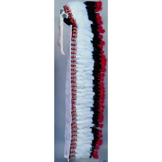 Regular Double Trailer  WarbonnetThis 90 feather imitation eagle bonnet is double plumed at the base and tips, fluff covered crown, rabbit fur drops and beaded browband and rosettes. Good, economically priced bonnet for ceremonies, etc. Bridle string is long, so you can adjust the spread if you wish. Special orders are available upon request.