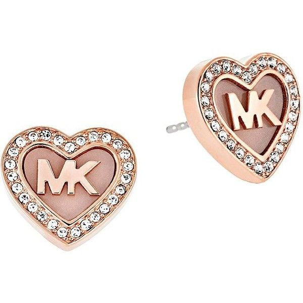 01894f01e Michael Michael Kors Pave Heart Stud Earrings ($75) ❤ liked on Polyvore  featuring jewelry, earrings, rose gold, letter jewelry, heart shaped  earrings, ...