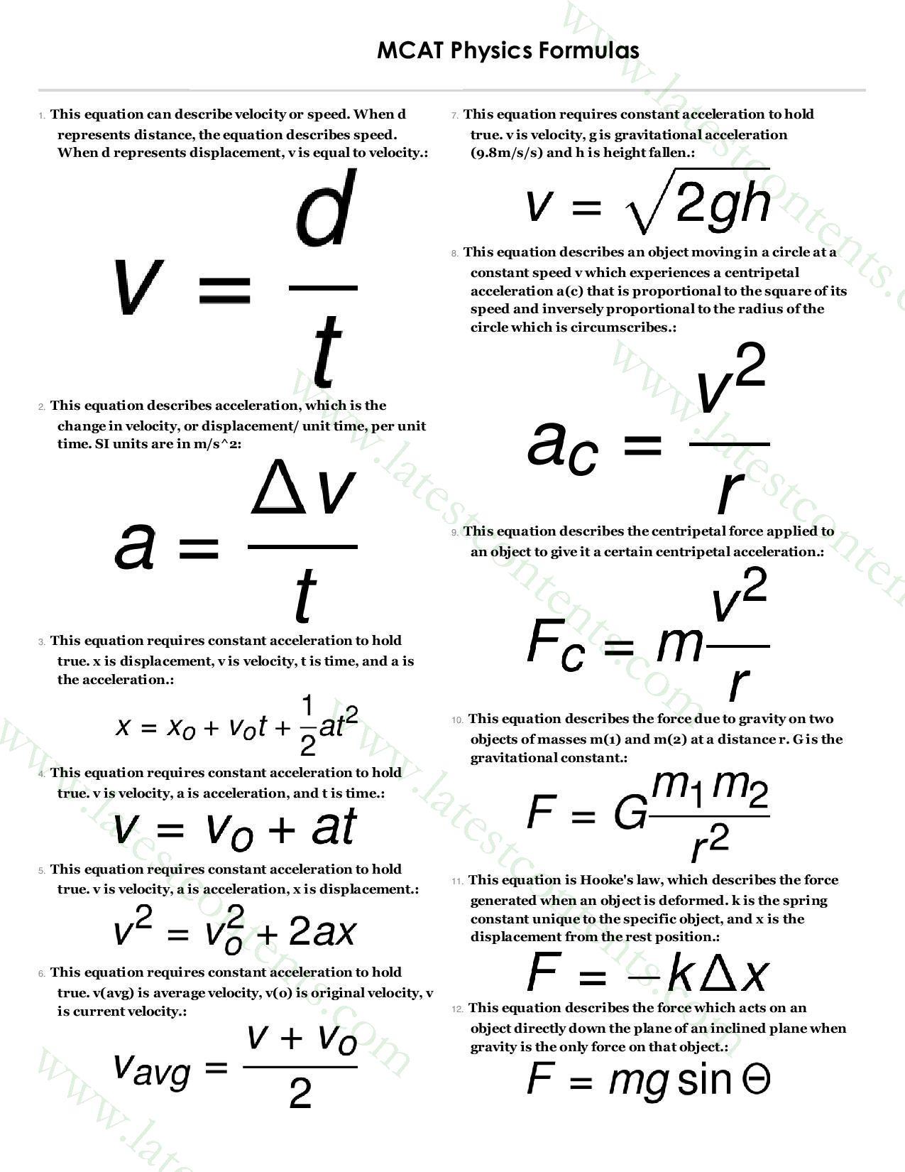 Mcat Amp Ecat Physics Formulas Page 001