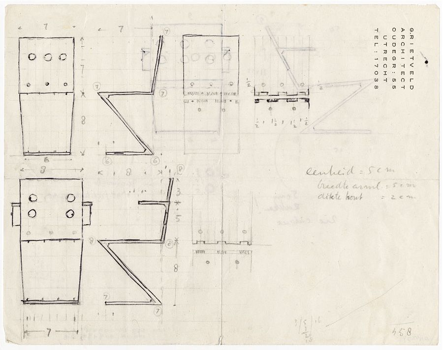 Working drawings of an early zigzag chair design by gerrit for Silla zig zag planos