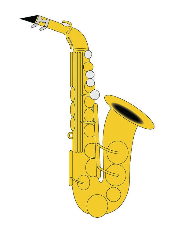 Saxophone clip art alto saxophone illustration saxophone - Saxophone dessin ...