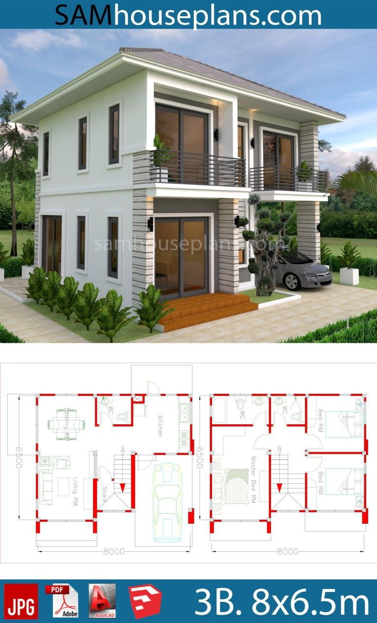 House Plans 8×6.5m With 3 Bedrooms