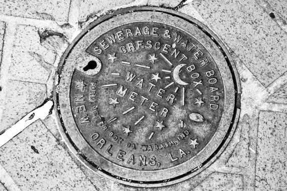 New Orleans Water Meter  Black & White  NOLA by MelissaCannonPhoto, $15.00