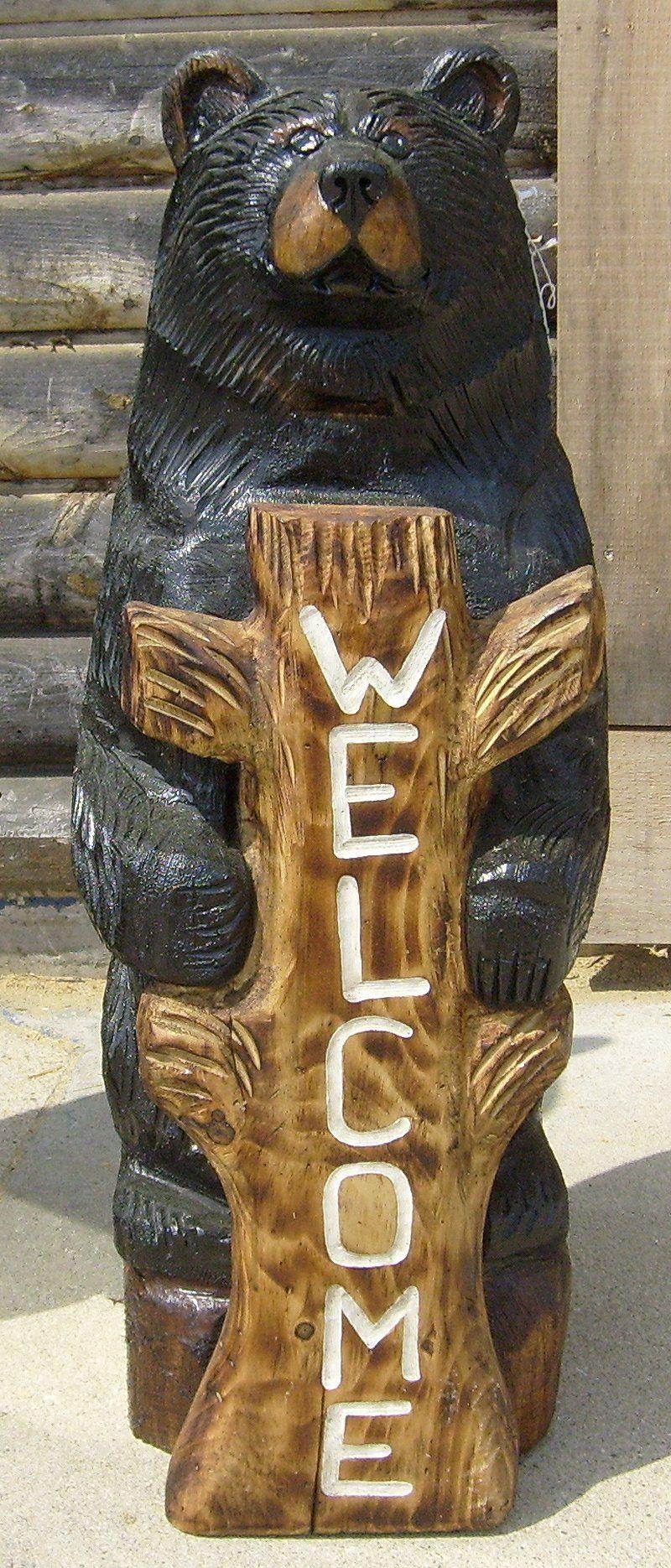 Wood carved black bear sale peewee s bears