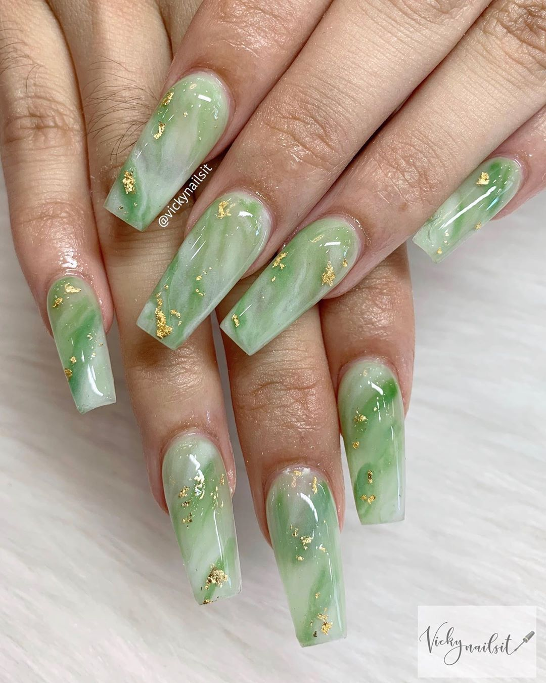 Vicky On Instagram Jade Nails Jade Jewelry Is Well Known In Many Asian Countries For Its Beauty And Meaningful Rep In 2020 Jade Nails Gem Nails Pretty Acrylic Nails