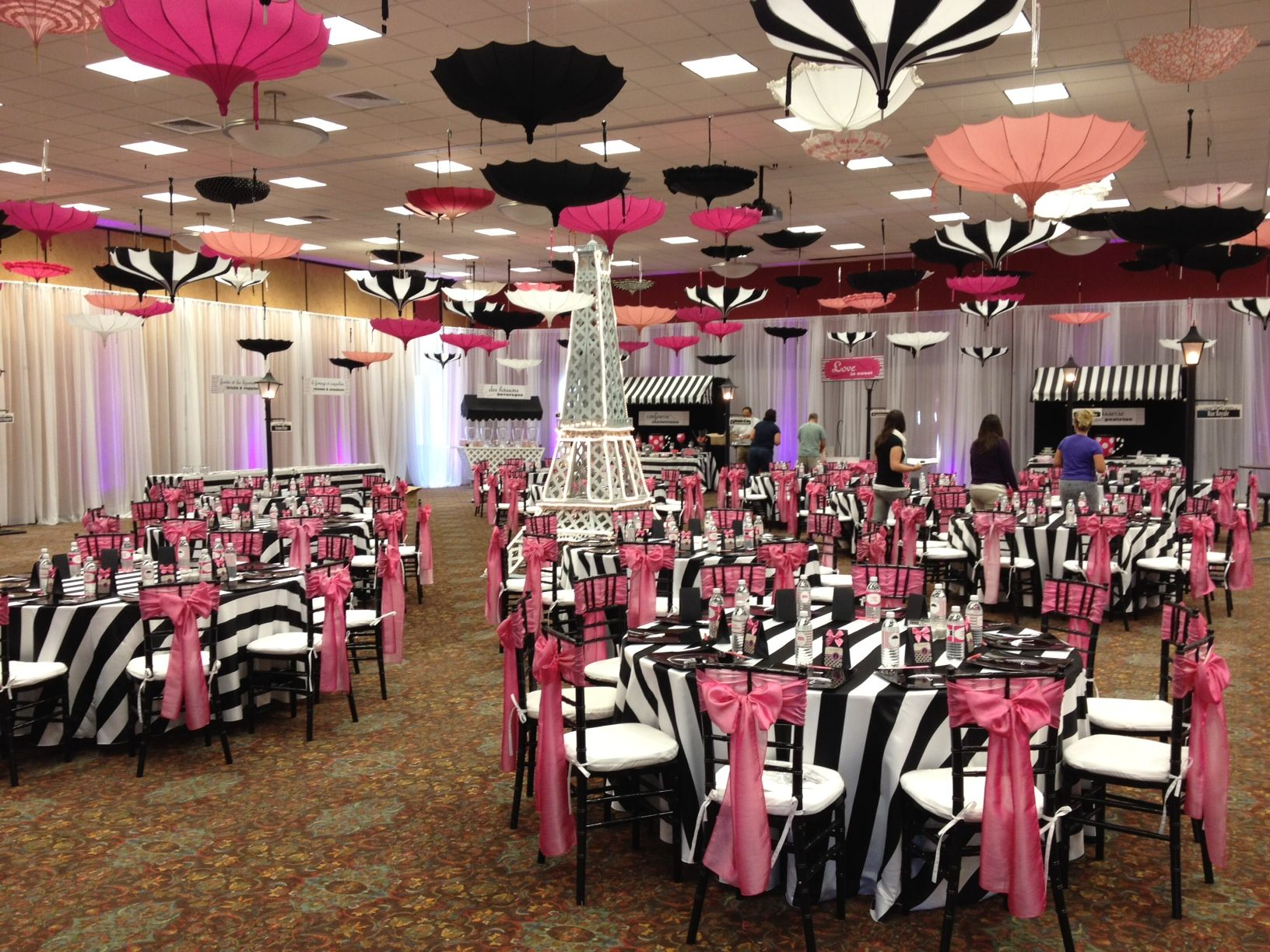 Amazing paris theme for this bridal shower by a to z event zebra print with umbrellas junglespirit Choice Image