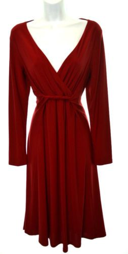 f67517cf65c1 JONES-WEAR-DRESS-Womens-14-Red-Stretch-Long-Sleeve-Knot-Empire-Waist-Dress