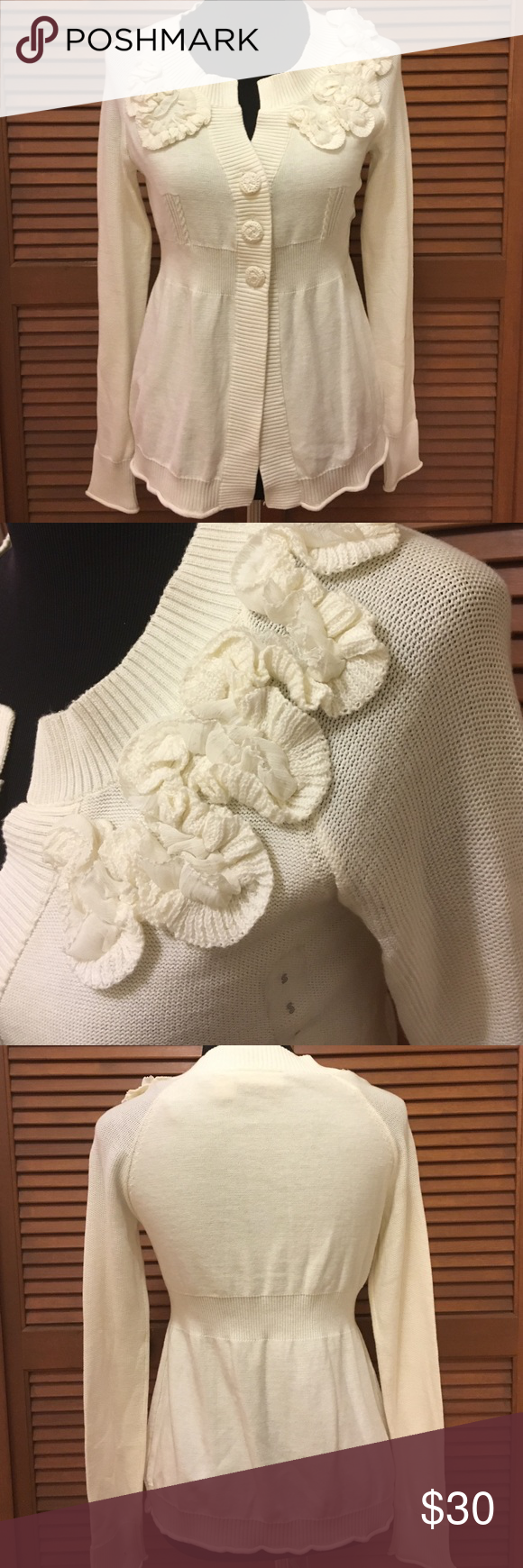 NWOT DKNY Jeans Cream embellished sweater S New without tags! Still has the size sticker on the front. Very flattering cut cream cardigan sweater. 100% cotton. DKNY Sweaters Cardigans
