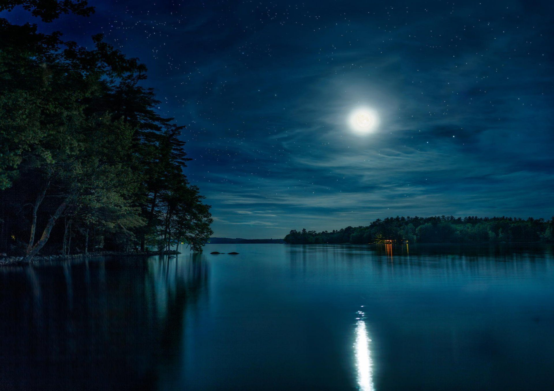Night Lake Moon Sky Star Nature Forest Hd Wallpaper For Computer Or Android Device Mountains At Night Beautiful Nature Nature