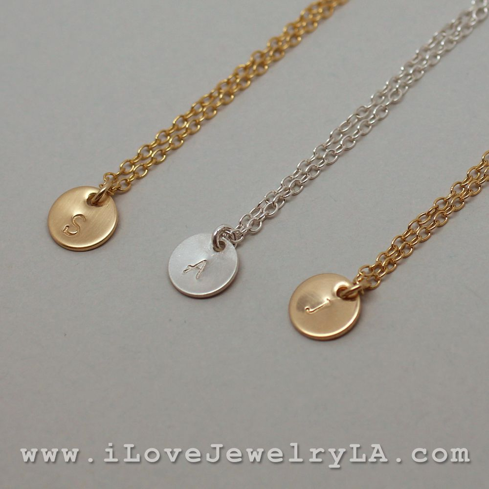 Small Circle Dics Necklace Personalized Hand Stamped Initial Dainty Necklace Perfect For Layering Necklac Fashion Jewelry Necklaces Custom Necklace Necklace