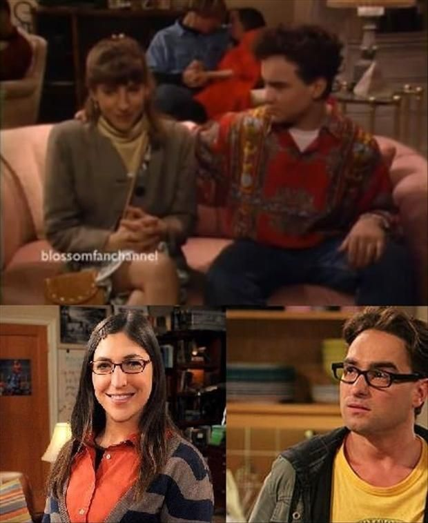 Johnny Galecki and Mayim Bialik were at a make out party together in an episode of Mayim's series Blossom (Sex, Lies and Teenagers) in 1991.