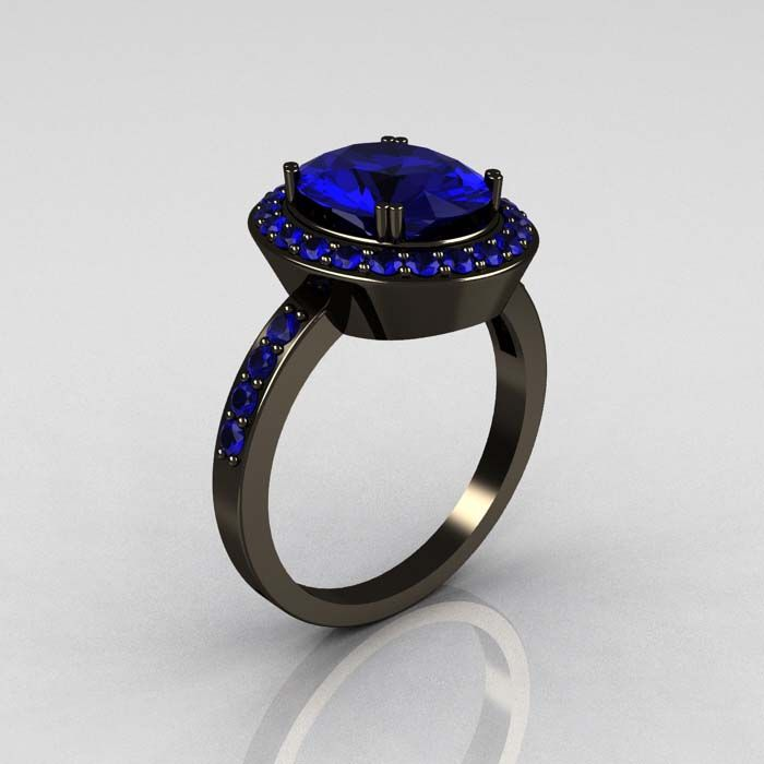Classic 14K Black Gold 3.0 CT Oval Blue Sapphire Engagement Ring R72-14KBGBS
