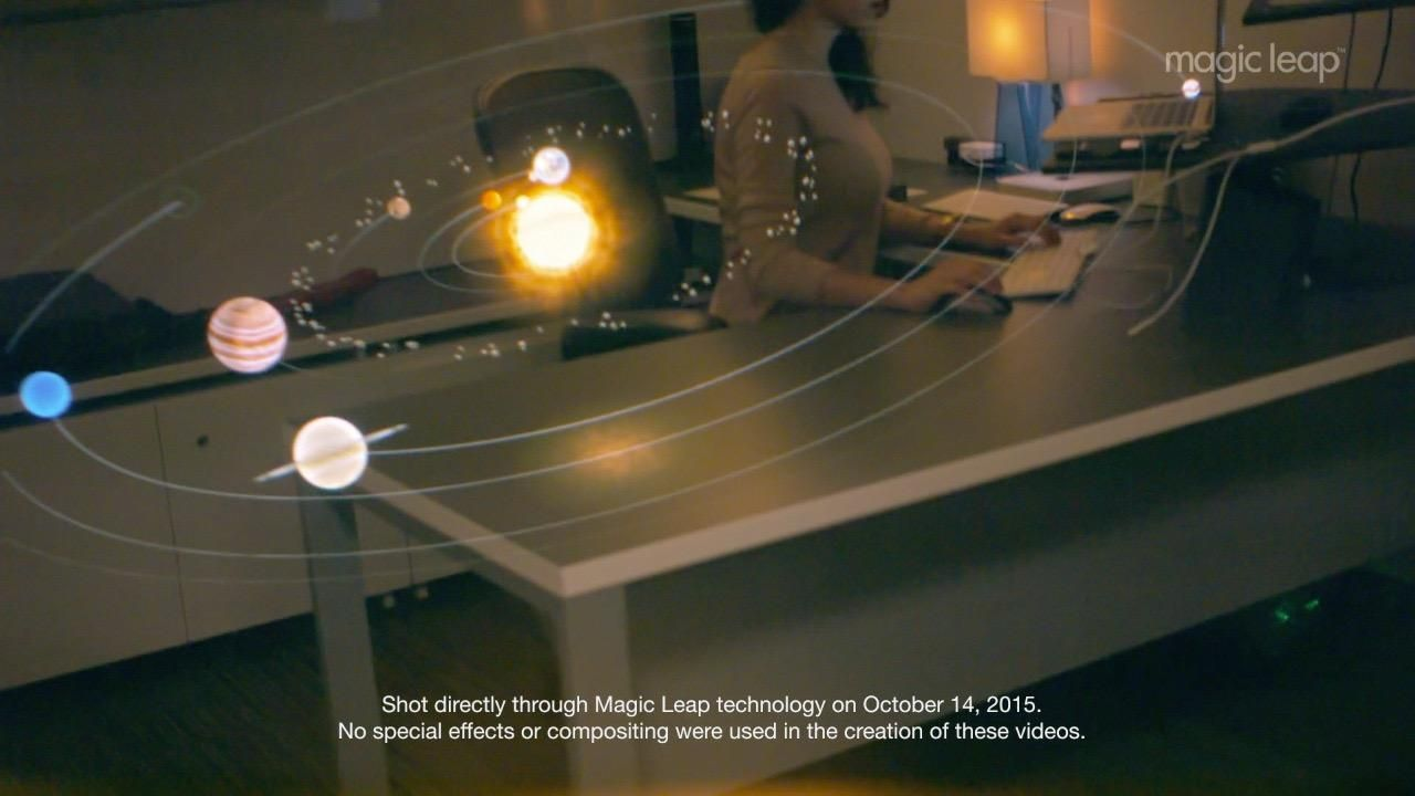 Magic Leap CEO Rony Abovitz shows a new clip of Magic Leap's augmented reality technology at the WSJDLive 2015 conference in Laguna Beach, Calif.