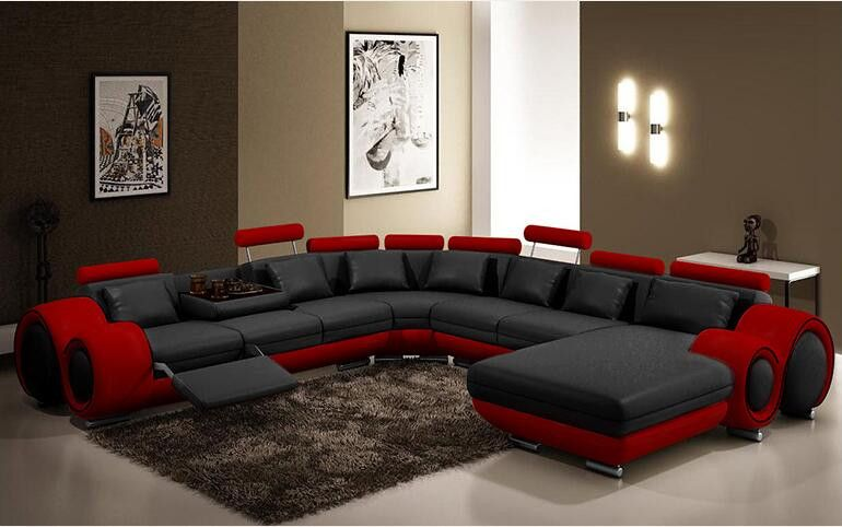 L Shape Cowhide Leather Top Grain Genuine Leather Corner Sofa Modern Fashion Creative Combination Large Size Sofa In Living Room Sofas From F Red Sectional Sofa Leather Sectional Sofas Leather Sectional