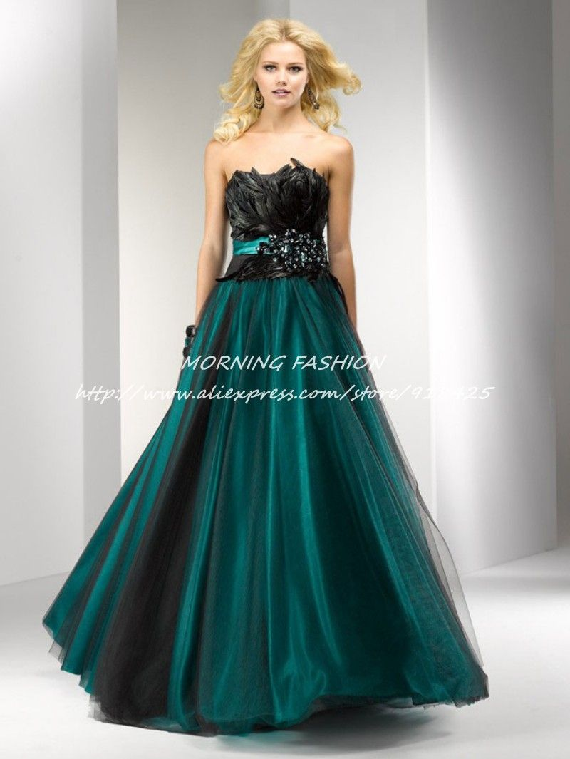 Click to buy ucuc stunning beaded strapless a line black feather prom