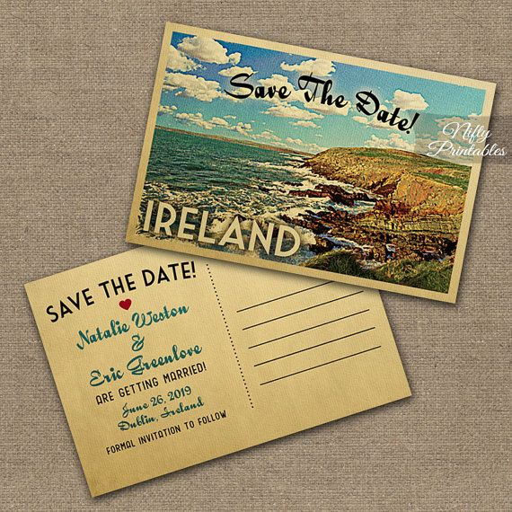 Ireland Save The Date Postcards Printable Vintage Ireland Postcard