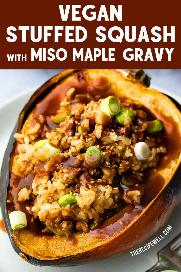 Impress your vegan and vegetarian guests with this beautiful Vegan Stuffed Squash with Miso Maple Gravy Perfect as a vegan option at a holiday gathering or dinner party F...