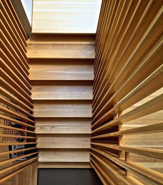 Best Vertical Wood Slats Wall From Above Modern Staircase 640 x 480