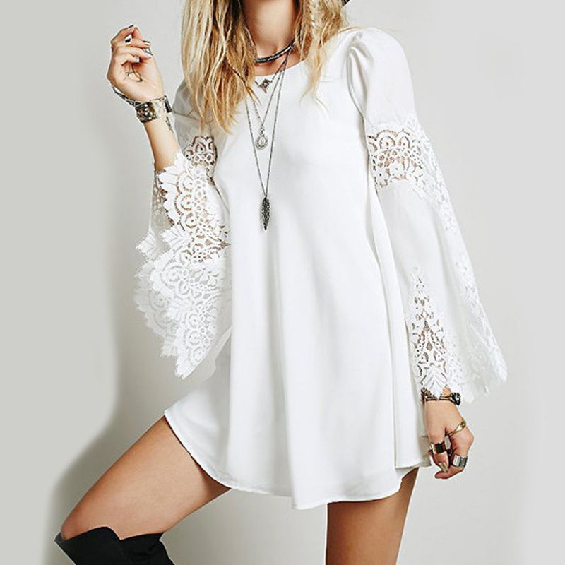 White tunic dress long sleeve lace inset