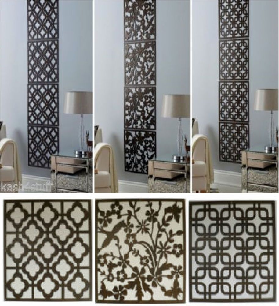 Details About 4pc Contemporary Wood Effect Hanging Wall Art Cut Out Screen Panels Home Decor