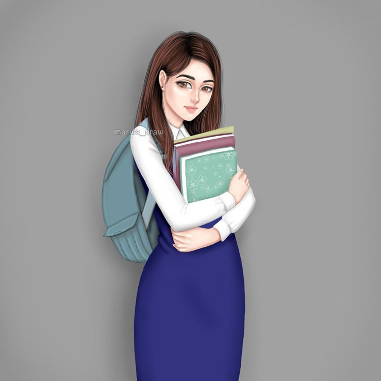 Back To School Beautiful Girl Drawing Girly M Cartoon Girl Images