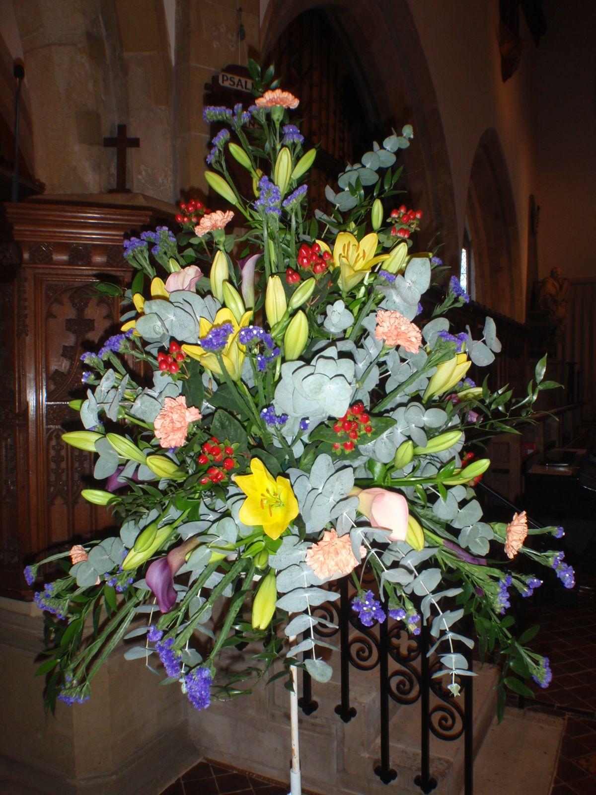Large Autumnal Pedestal Arrangement Flowers Feed Oriental Lily Flowers