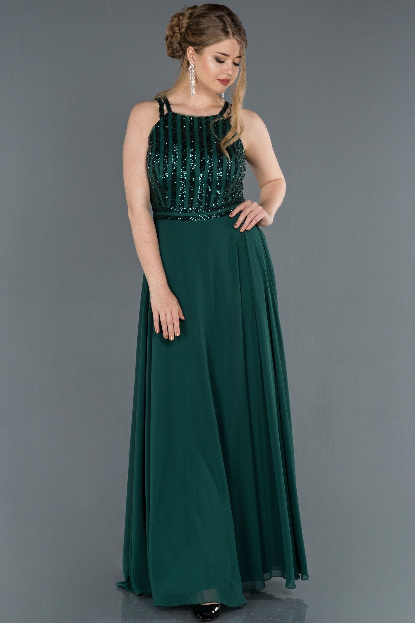 Zumrut Uzun Pul Payetli Sifon Abiye Elbise Abu1258 2020 Elbise The Dress Elbise Modelleri