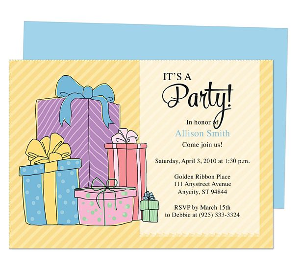 General Birthday  Presents Birthday Party Invitation Printable - invitation template publisher