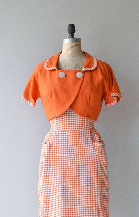 Ice Cream Social dress | vintage 1950s gingham dress | 50s cotton ...