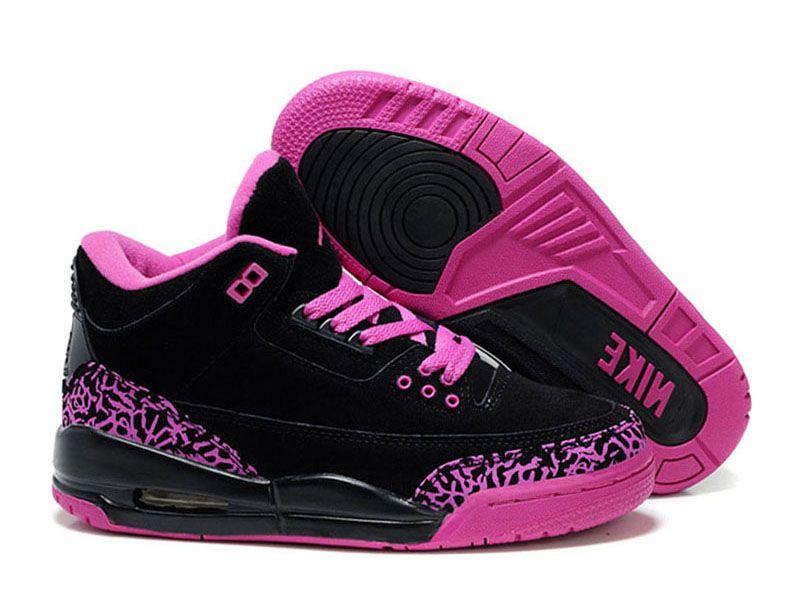 Air Jordan 3 Retro - Basket Jordan Pas Cher Chaussure Pour Femme/Fille Noir/