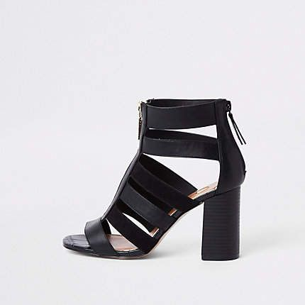 162ae0ef7fd4 River Island Black wide fit caged block heel shoe boots