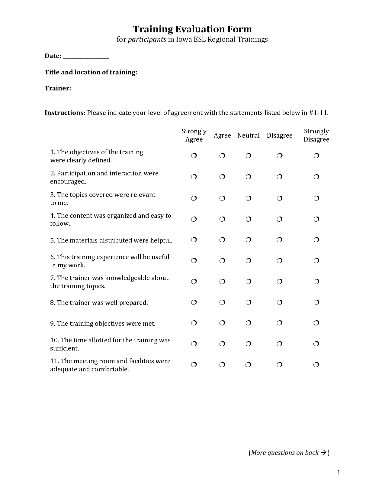 Training Evaluation Form Training Evaluation Form