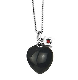 Rhodium Sterling Silver Solid Black Agate Heart Necklace